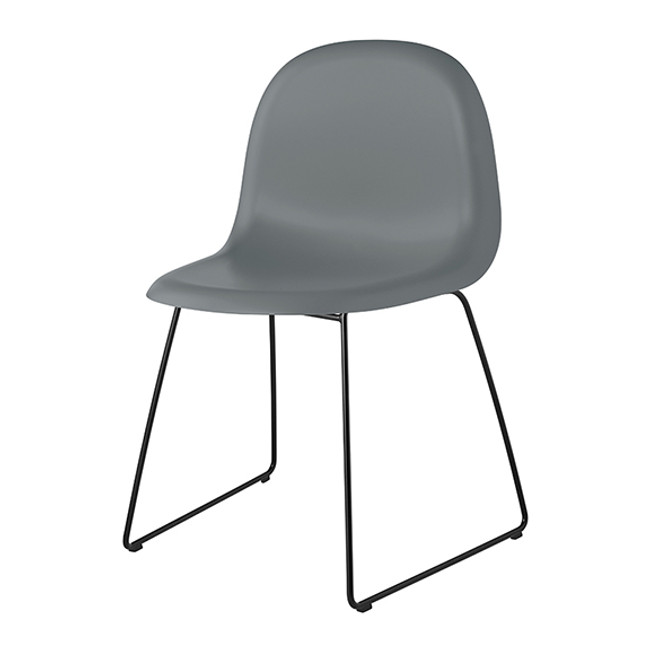 Gubi 3D Chair Sled Base in rainy grey seat / black base - the new grey colour