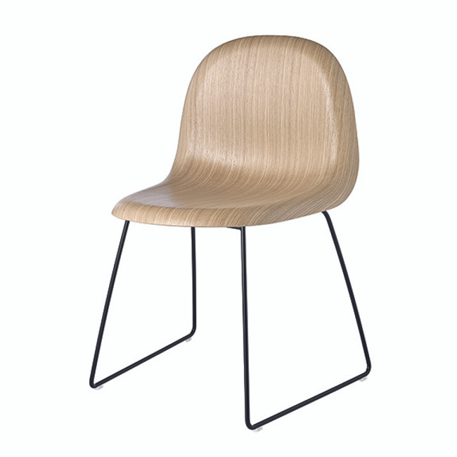 Gubi 3D Wood Chair Sled Base in oak base / black base
