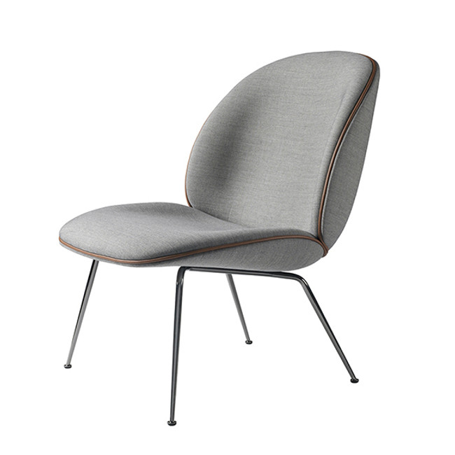 Gubi Beetle Lounge Upholstered in Grey Remix 123 seat/black base