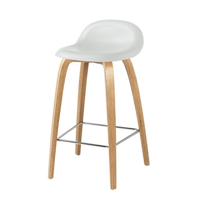 Gubi 3DA Barstool in white cloud seat / oak base