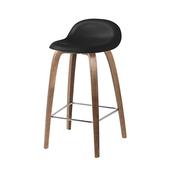 Gubi 3D Woodbase Barstool in black seat / walnut base