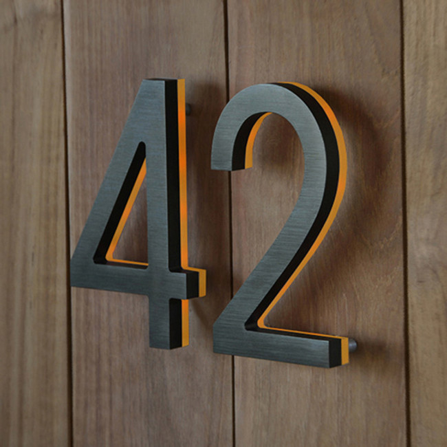 Bronze House Number with Amber LED 5""