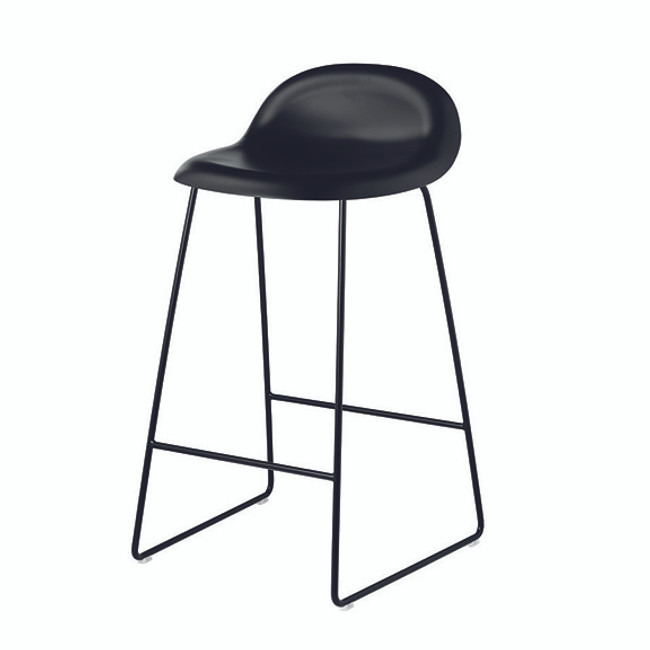 Gubi 3A Bar Stool in black seat with black base