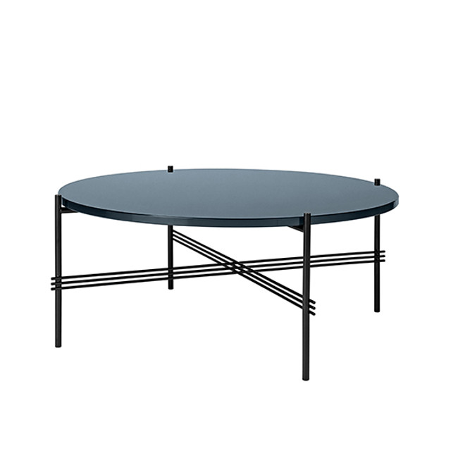 Gubi TS Table Round - in blue grey glass