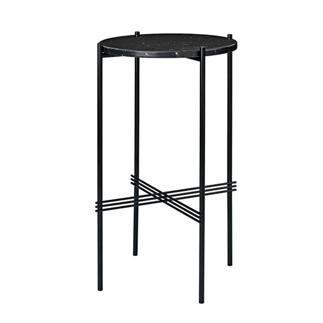 Gubi TS Console Round Table in black marble/black base