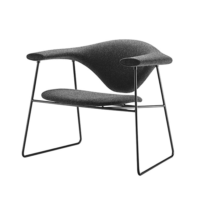 Gubi Masculo Lounge Chair in Grey Hallingdal 65 180 seat / black base