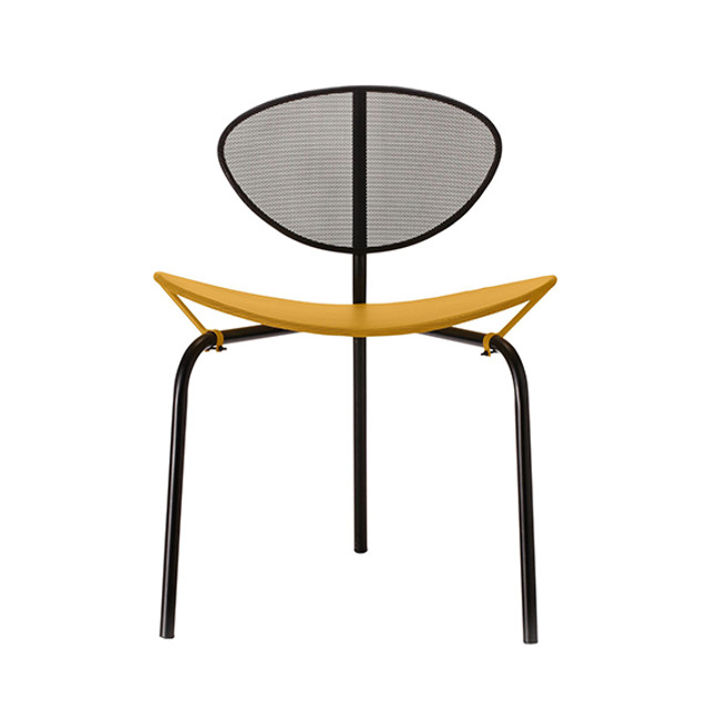 Gubi Mategot Nagasaki Chair in Black/Yellow