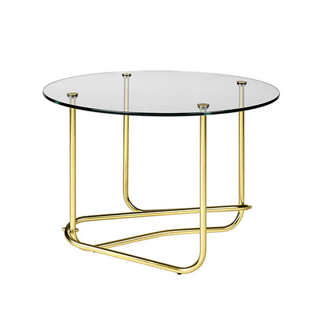 Gubi Mategot Lounge Table in clear glass top