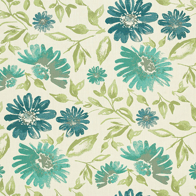 The Sunbrella Violetta Floral fabric boasts an excellent combination of green and blue