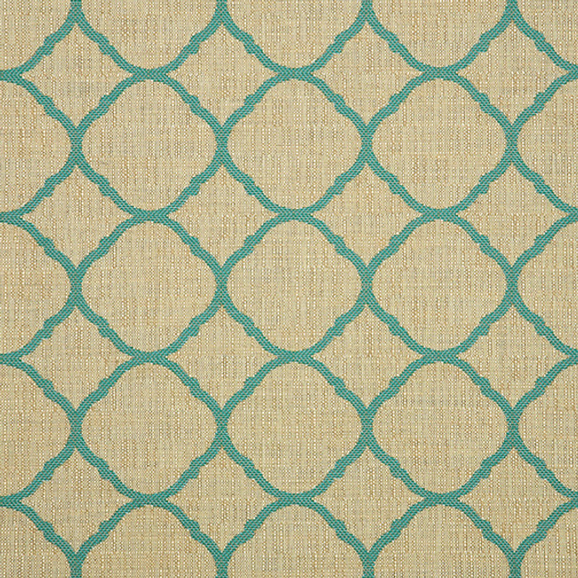The Sunbrella Accord Turquoise fabric offers a perfect combination of beige and blue.