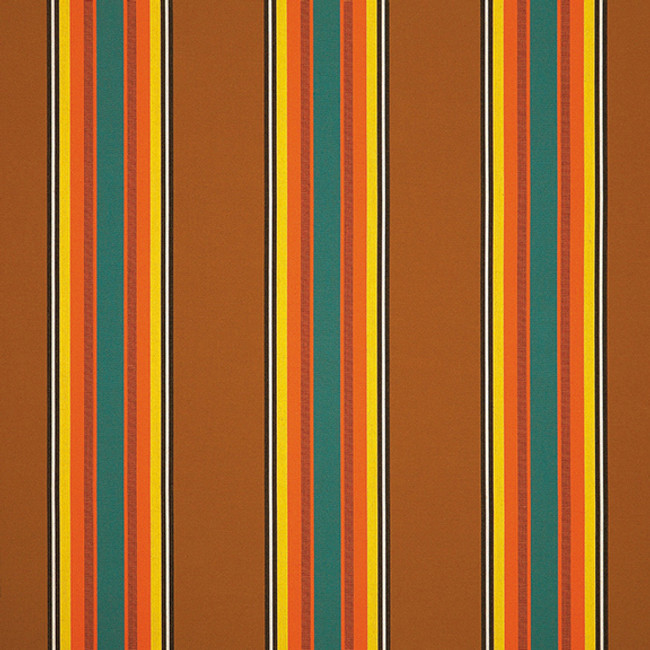 The Sunbrella Scout Fiesta fabric boasts a perfect blend of brown and green with orange/rust accents
