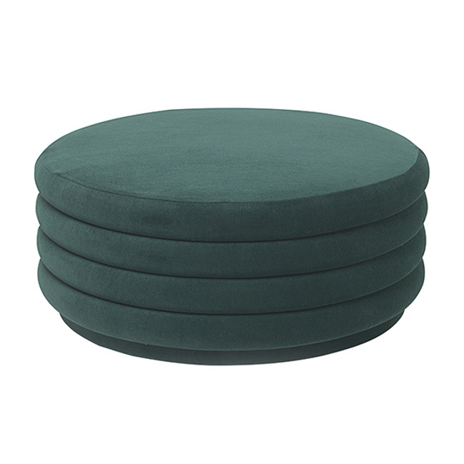 Ferm Living Pouf Round Large in Dark green