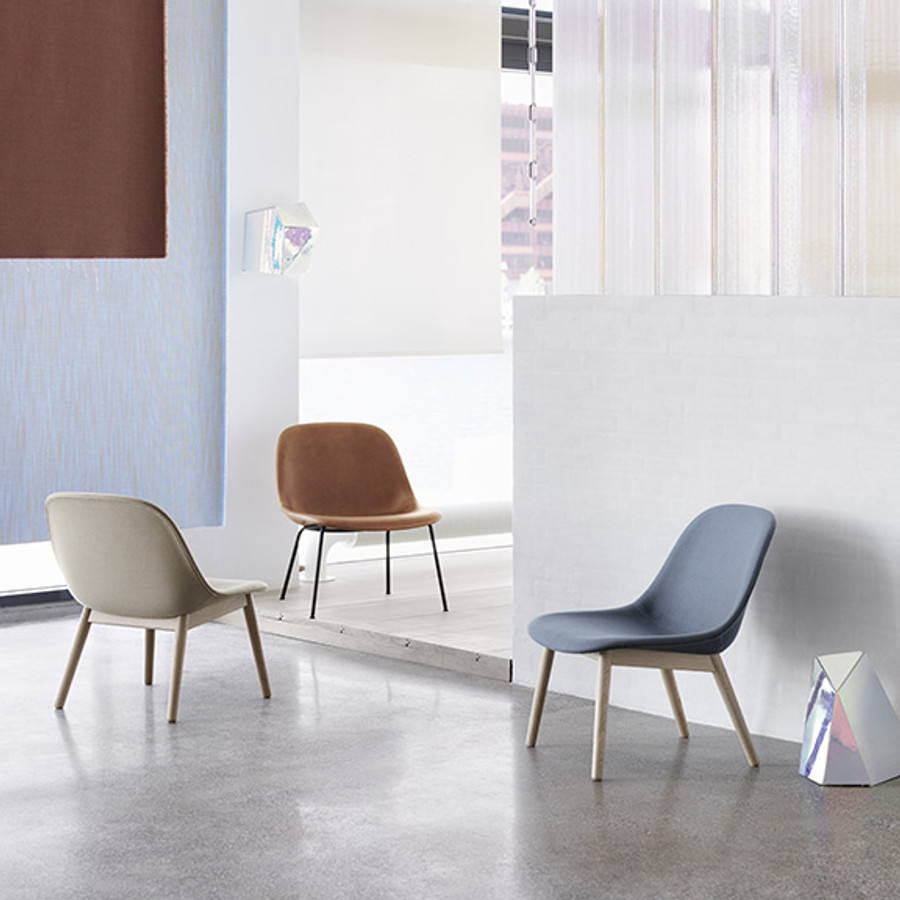 Muuto Fiber Lounge Chair Woodbase Upholstered