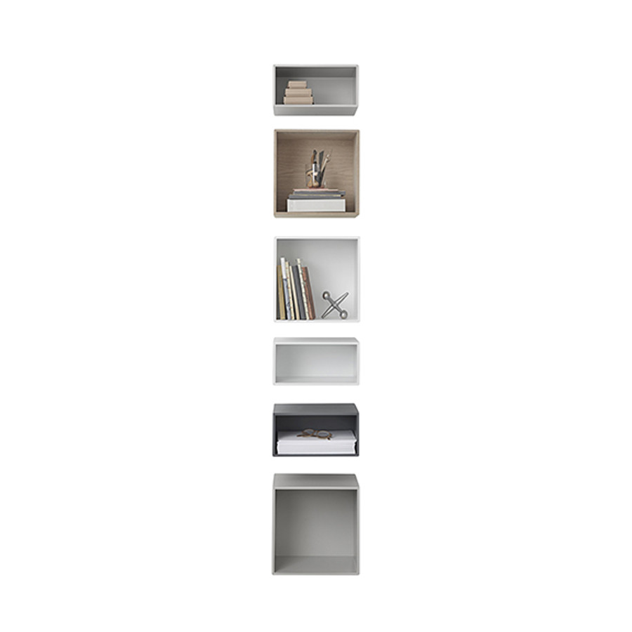 The shelving units of the Muuto mini stacked shelf system can be combined and arranged to fit users' specifications