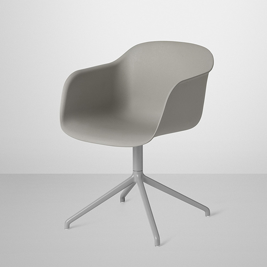 Muuto Fiber Chair Swivel Base in Grey shell / grey base