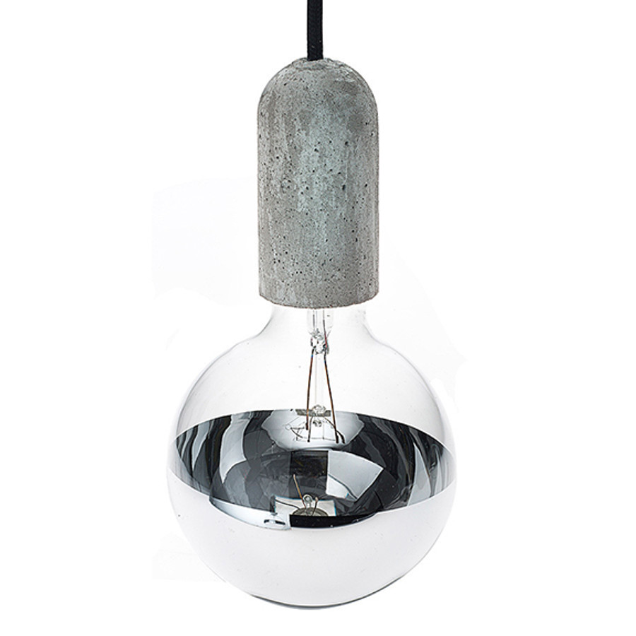 concrete and mirrors create a beautiful contrast. Shown with an incandescent mirror globe