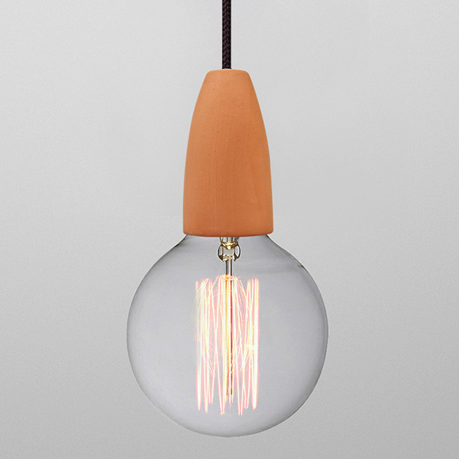 terracotta pendant shown with the G125 filament globe