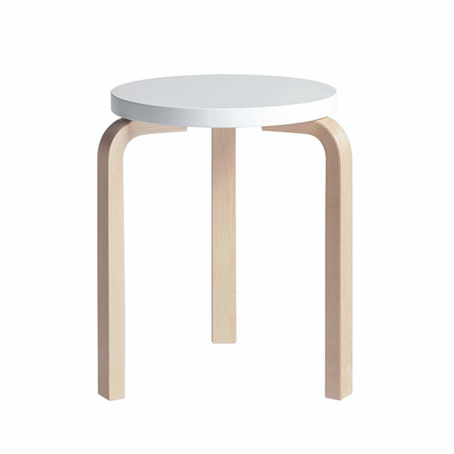 Artek Stool 60 in White seat / natural legs