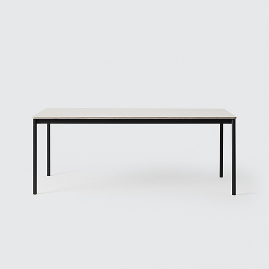 Muuto Base Table Medium in Black / White laminate tabletop / Plywood edges