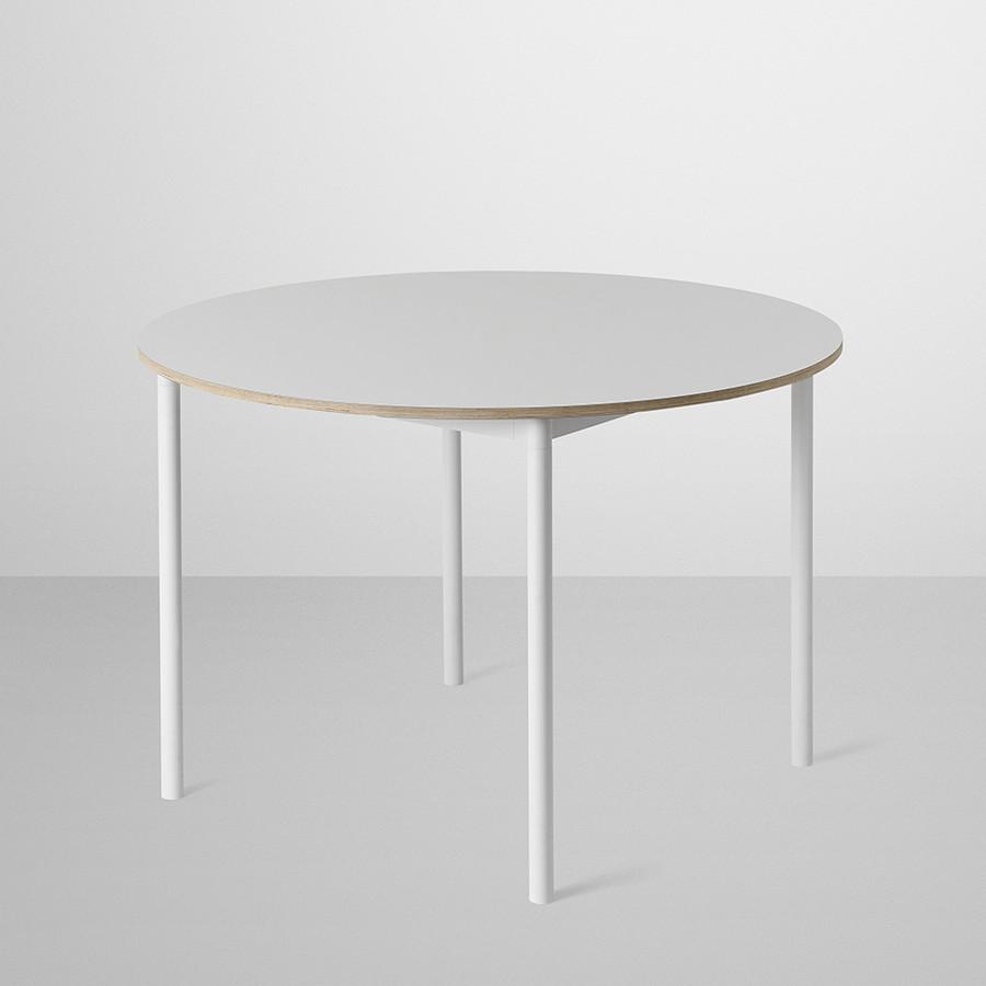 Muuto Base Round Table in White laminate / Plywood edges