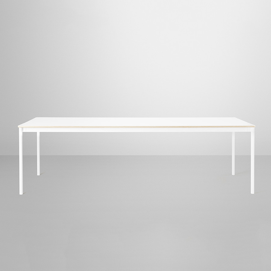 Muuto Base Table Large in White/White laminate tabletop / Plywood edges