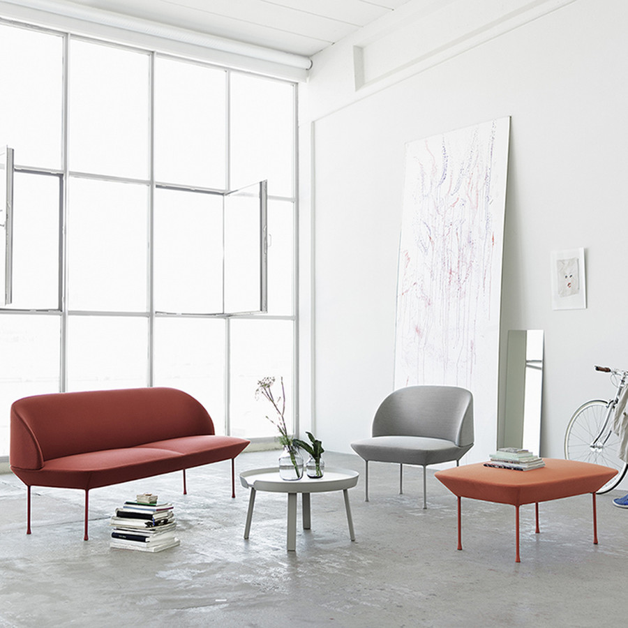 Oslo Chair shown with matching sofa and pouf
