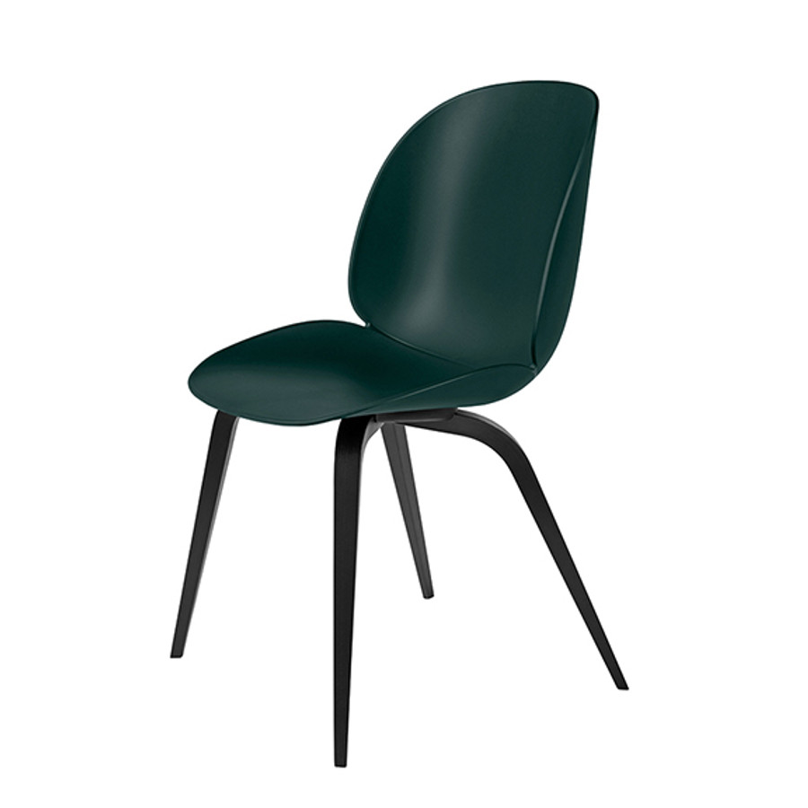 Gubi Beetle Chair Woodbase in green seat/ blackstained beech base