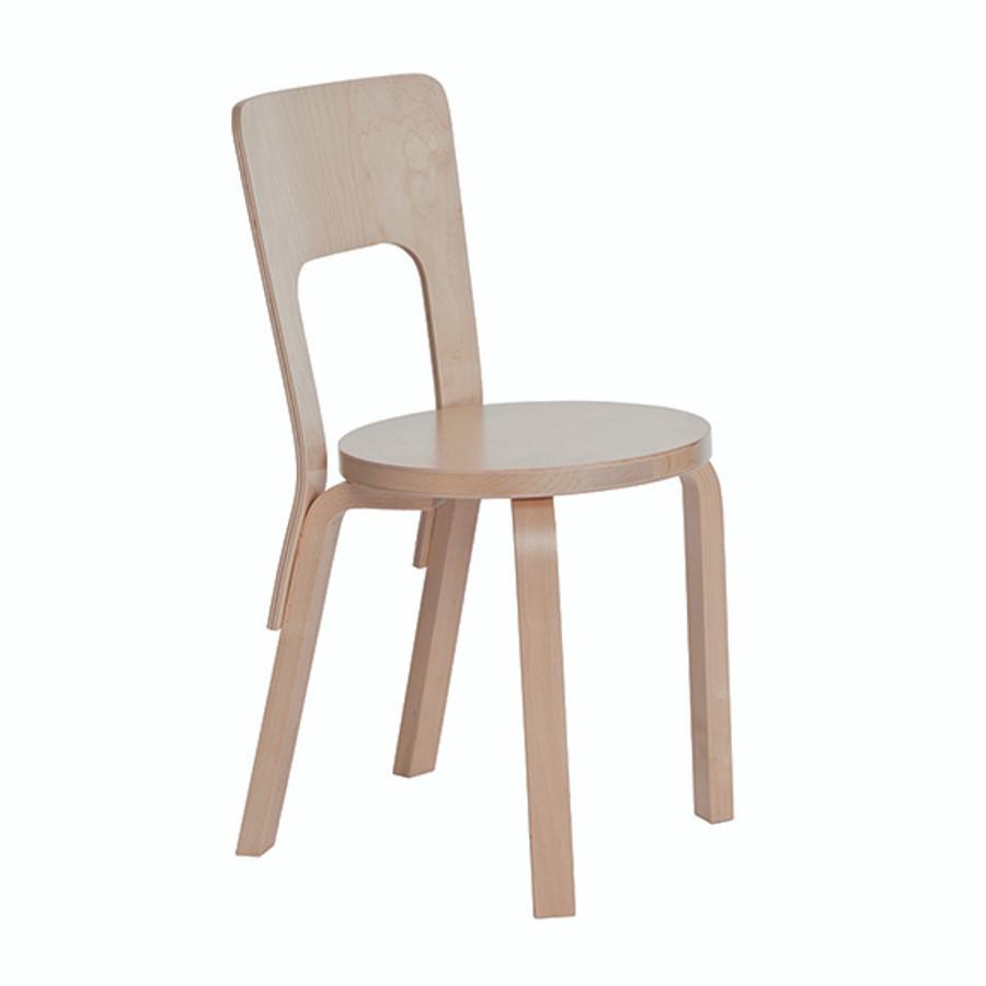 Artek Chair 66 in birch veneer seat / natural legs