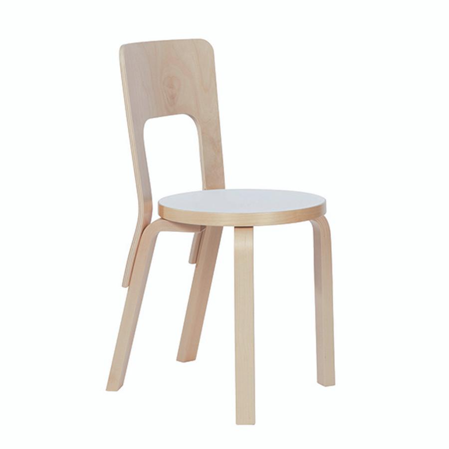 Artek Chair 66 in white laminate seat / natural legs