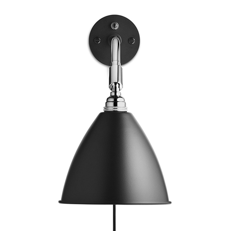 Gubi Bestlite Wall Lamp BL7 in Black/Chrome - switch on backplate