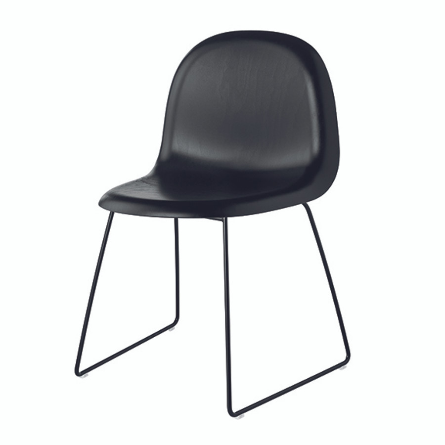 Gubi 3D Wood Chair Sled Base in blackwood base / black base