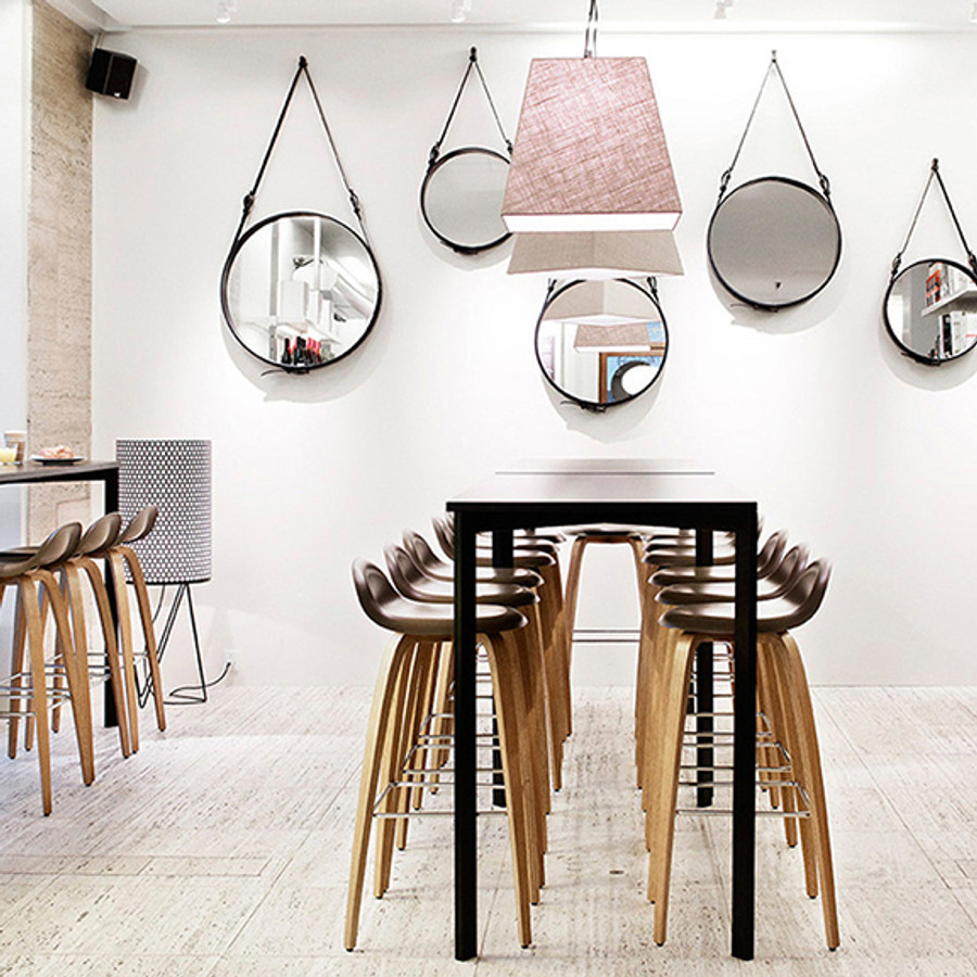 the 3D Bar Stools shown with the Gubi Adnet Mirrors