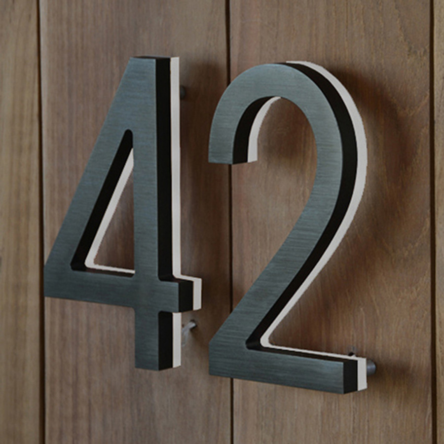 Luxello Modern Led Bronze House Number 8 Quot Outdoor
