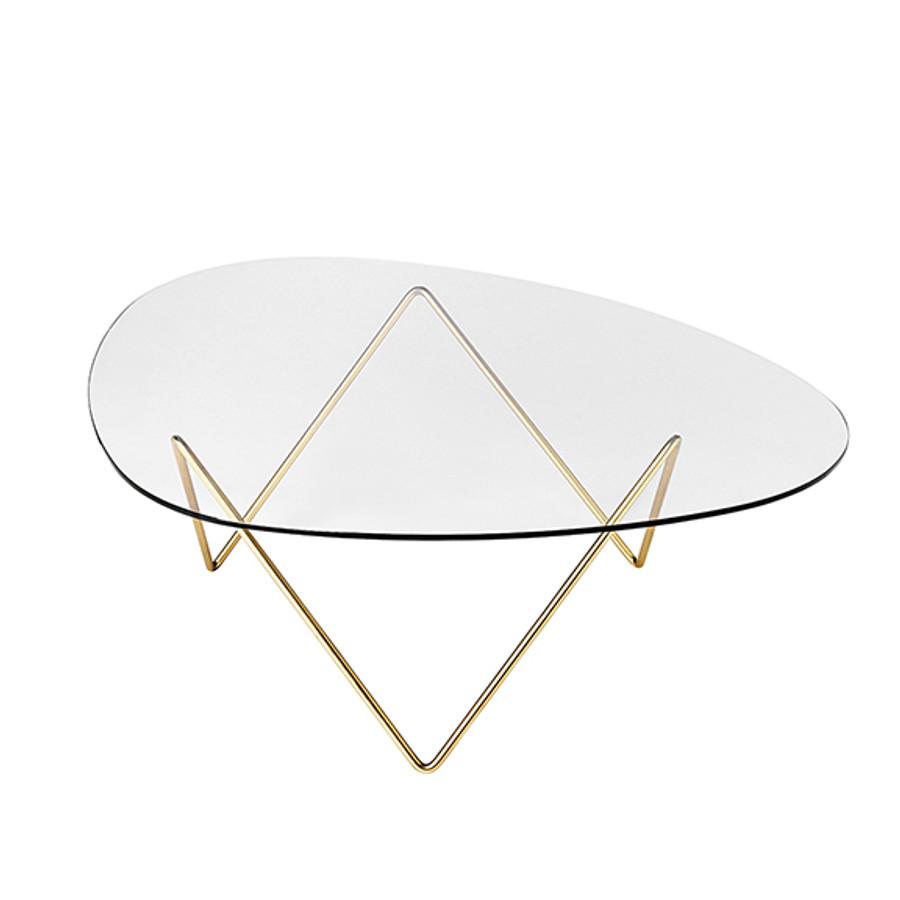 Gubi Pedrera Coffee Table in brass frame