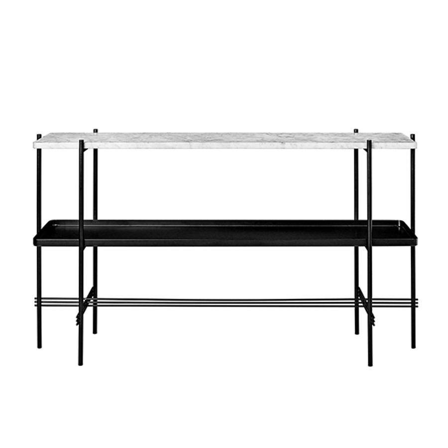 Gubi TS Console 2 in white marble and tray