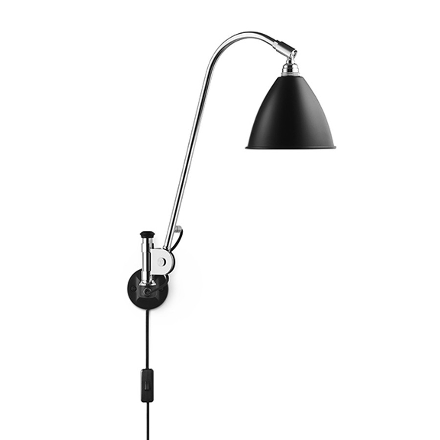 Bestlite Wall Lamp BL6 in Black/Chrome - Electrical cord w. switch