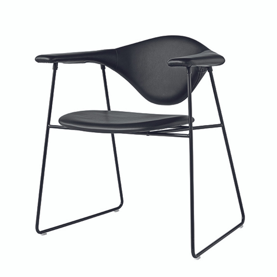 Gubi Masculo Chair in black leather seat / black base