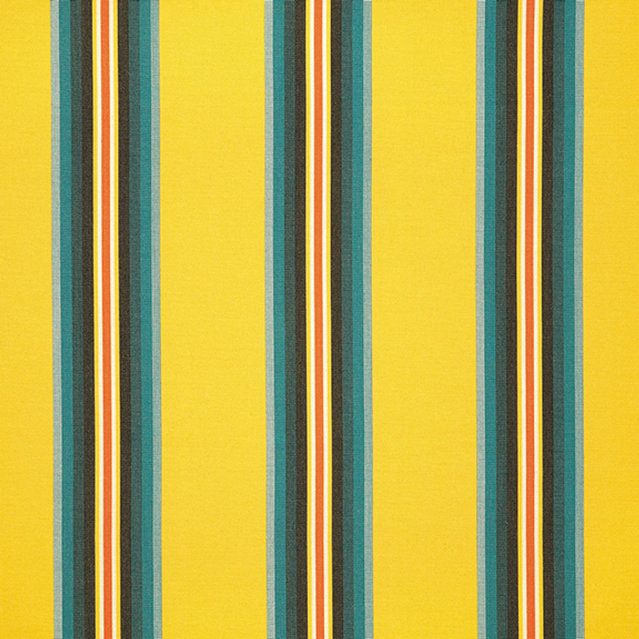 The Sunbrella Pioneer Island fabric boasts a perfect mix of yellow and green with black accents