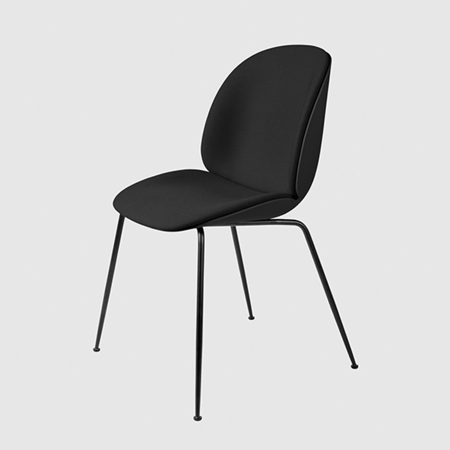 Gubi Beetle Chair Conic Front Upholstered in Remix 183 seat front seat and black shell