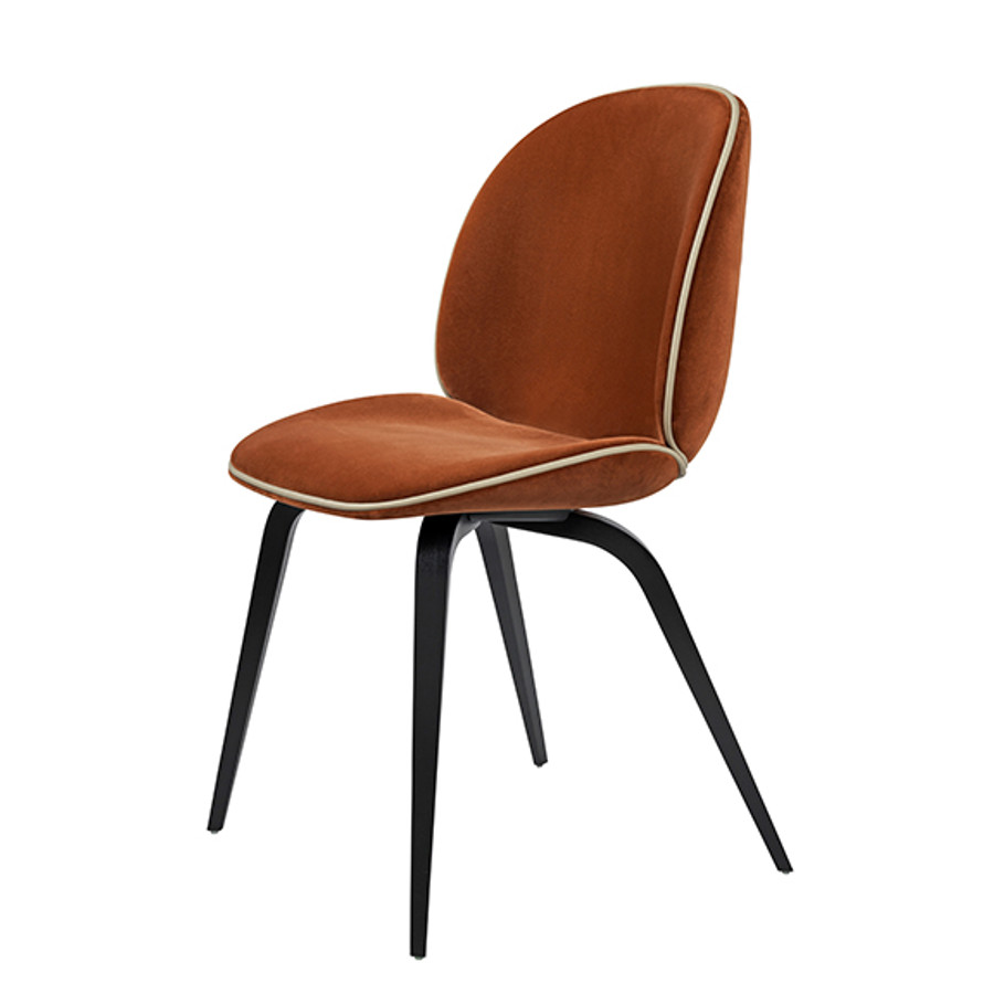 Beetle Chair Woodbase Upholstered in Velluto Cotone-641 / blackstainedd beech base