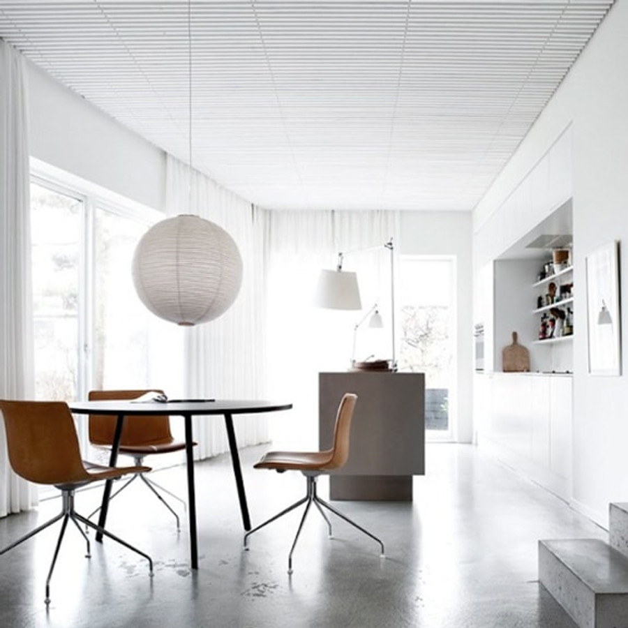 Noguchi Ceiling Lamp 45A is a round Akari pendant light with a small ribbed pattern on the shade