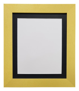 FRAMES BY POST Metro Gold Photo Picture Poster Frame with White on Black,White, Ivory,Pink,Blue,Light and Dark Grey Double Mounts