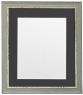 FRAMES BY POST Nordic Distressed Blue Photo Frame with Black Mounts