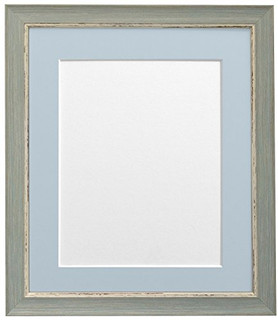 FRAMES BY POST Nordic Distressed Blue Photo Frame with Blue Grey Mounts