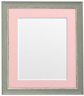 FRAMES BY POST Nordic Distressed Blue Photo Frame with Pink Mounts