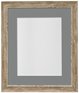 FRAMES BY POST Nordic Distressed Wood Photo Frame with Dark Grey Mount