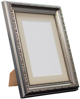 FRAMES BY POST Shabby Chic Gunmetal Picture Photo Frame with Pink , Blue , light Grey , Dark Grey  Mounts