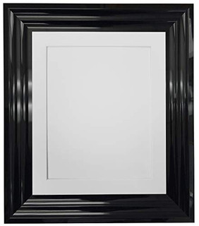 FRAMES BY POST Firenza High Gloss Black Picture Photo Frame with Mounts