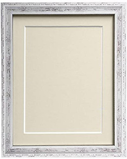FRAMES BY POST Shabby Chic Distressed Cream Picture Photo Frame With Black,White,Ivory, Pink or Blue Mounts with Backing Boards