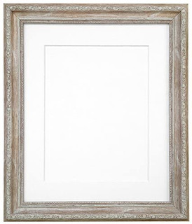 FRAMES BY POST Shabby Chic Distressed Wood Picture Photo Frame With Black,White,Ivory, Pink or Blue Mounts with Backing Boards